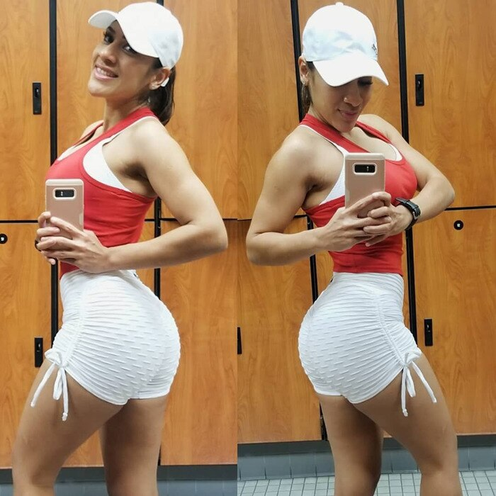 Sexy Solid Scrunch Butt Short Shorts - White