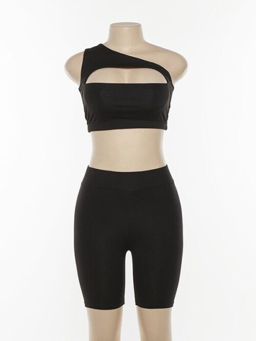 Off Shoulder Two Pieces Tracksuit | Hollow Crop Top & Elastic High Waist Shorts