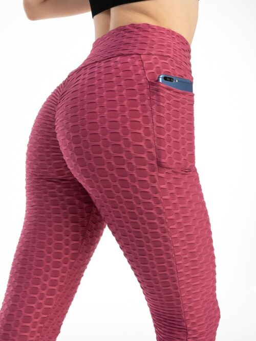 Anti-Cellulite Workout Leggings With Pockets For Women - Brown