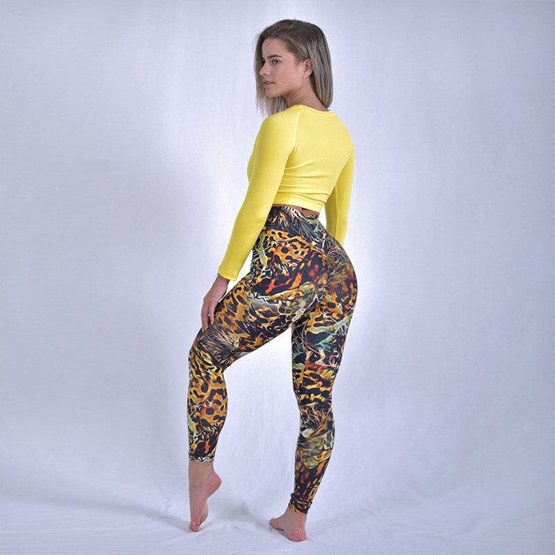 High Waist 3D Leopard Patterned Leggings For Women