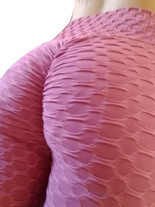 Women Anti Cellulite Booty Scrunch Leggings - Rose Red
