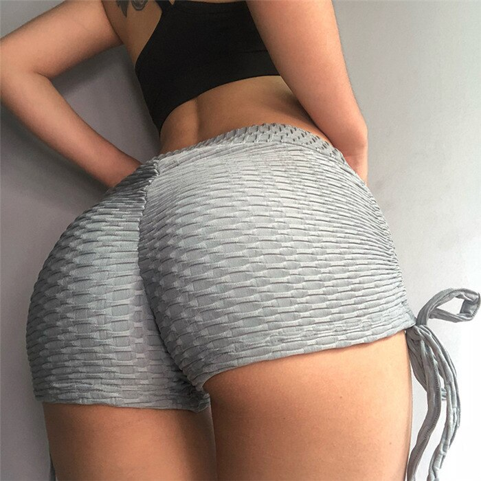 Sexy Solid Scrunch Butt Short Shorts - Gray