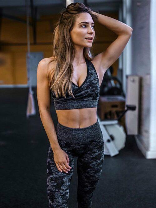 Women Camouflage Workout Suits   High Waist Leggings & Bra