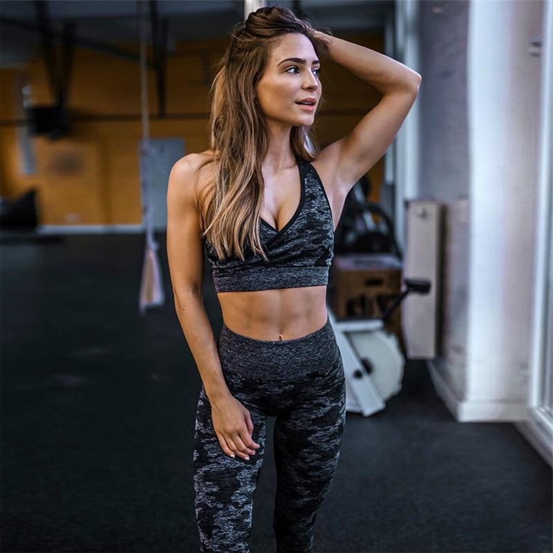 Women Camouflage Workout Suits | High Waist Leggings & Bra