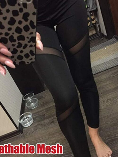 Black Mesh Active Leggings For Women