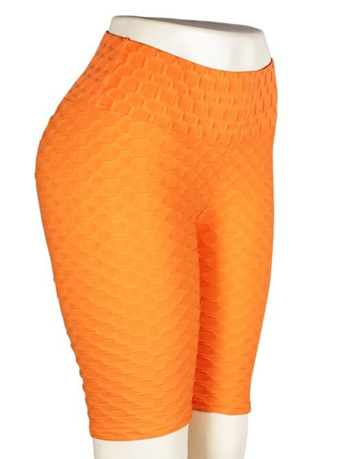 Women High Waist Anti Cellulite Short Leggings - Orange