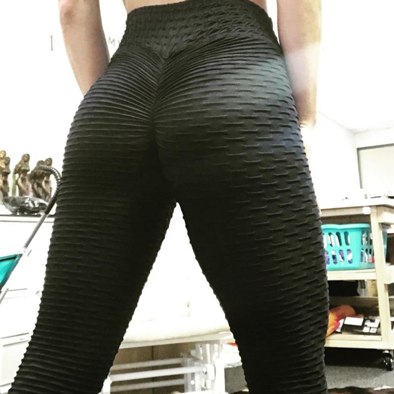 Women Anti Cellulite Booty Scrunch Leggings - Black