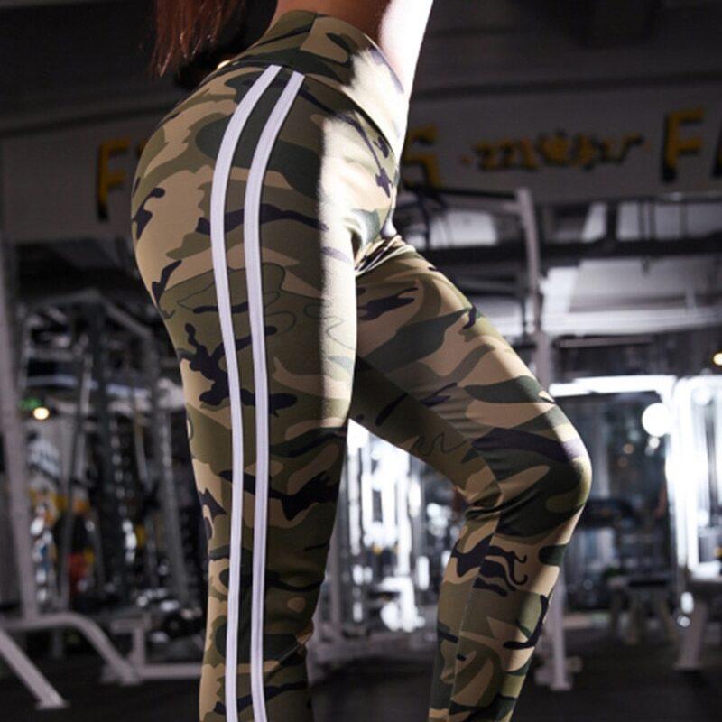 Women Two Side White Stripes Camo Skinny Leggings