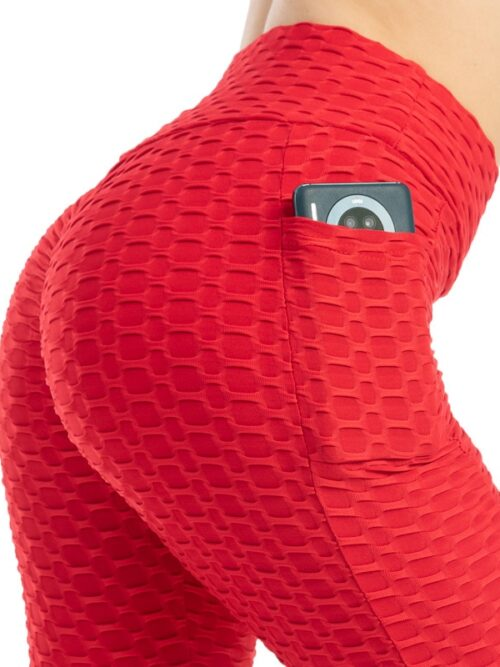 Anti-Cellulite Workout Leggings With Pockets For Women - Red