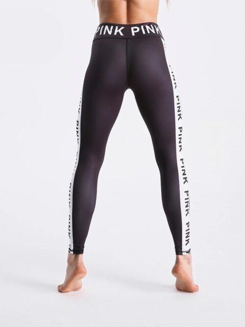 Women Black Letters White Stripe Print Fitness Pants