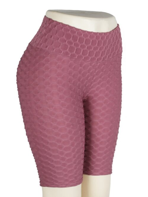 Women High Waist Anti Cellulite Short Leggings - Brown