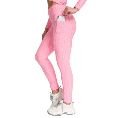 Anti-Cellulite Workout Leggings With Pockets For Women - Pink