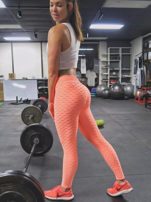 Women Anti Cellulite Booty Scrunch Leggings - Orange