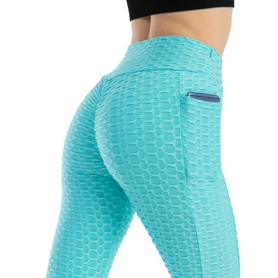 Anti-Cellulite Workout Leggings With Pockets For Women - Sky Blue