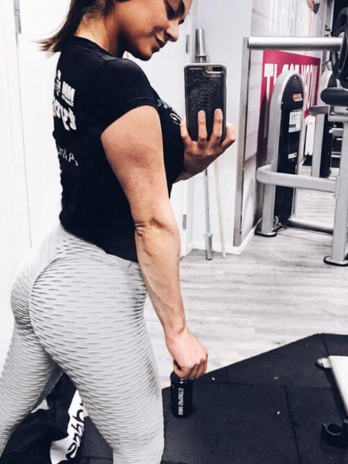 Women Anti Cellulite Booty Scrunch Leggings - Gray