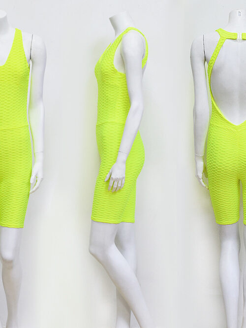 Women Sexy Shorts Body Suits - Yellow