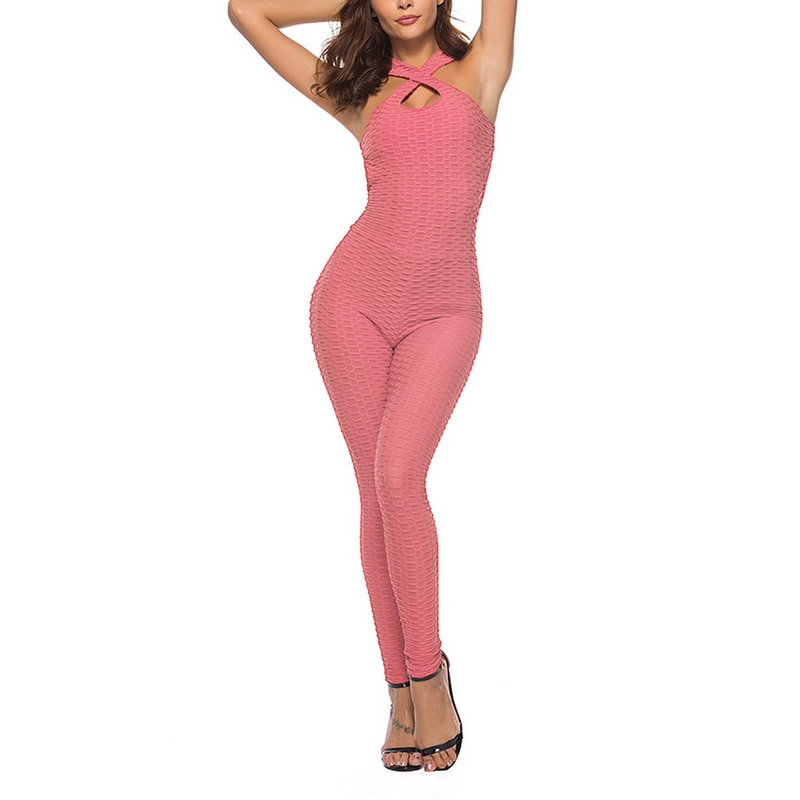 Halter Jumpsuit For Women - Pink