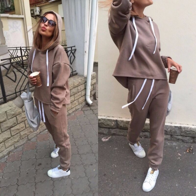 Female 2-Piece Tracksuit Sets| Thicken Hooded Sweatshirts & Pants