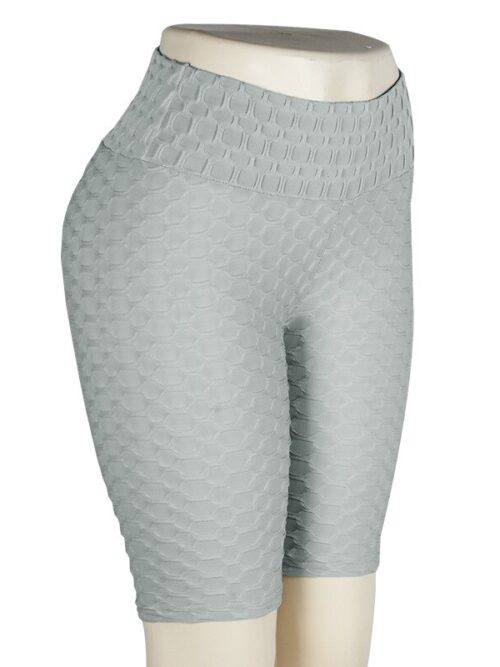 Women High Waist Anti Cellulite Short Leggings - Gray