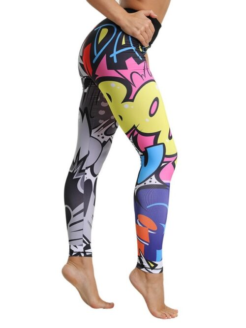 Elastic Slim Pattern Print Workout Leggings For Women