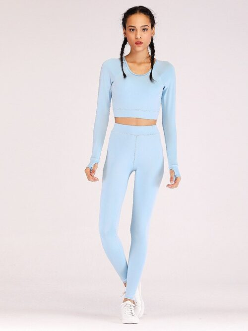 Women Solid 2-Piece Sportswear Suit | Long Sleeve Top & Leggings