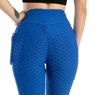 Anti-Cellulite Workout Leggings With Pockets For Women - Blue