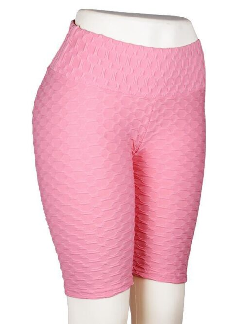 Women High Waist Anti Cellulite Short Leggings - Pink