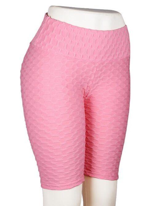 Women High Waist Anti Cellulite Short Leggings - Pink