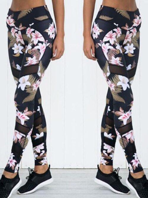Women's Floral Print Mesh Leggings