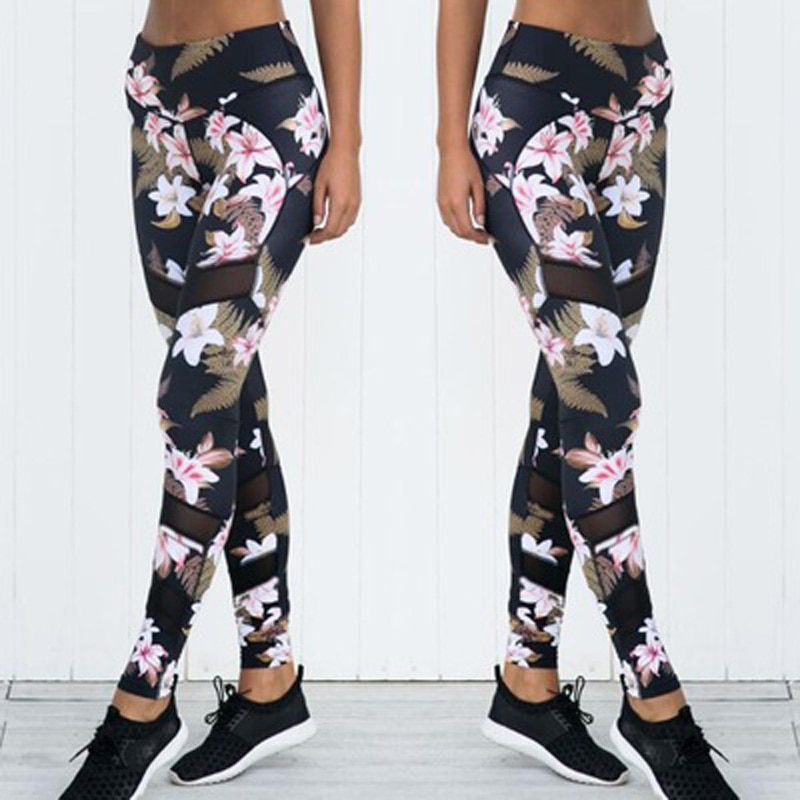 Women's Floral Print Mesh Leggings