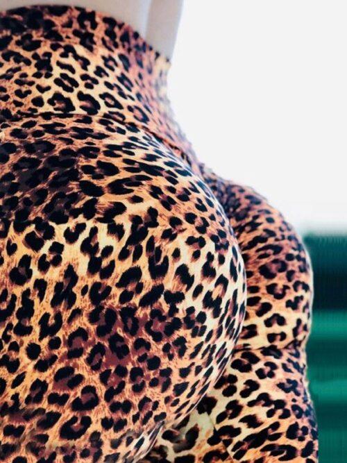 Sexy High Waist Leopard Digital Print Leggings For Women