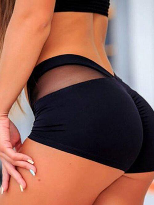 Women Elastic Waistband Net Stitching Hips Skinny Gym Shorts