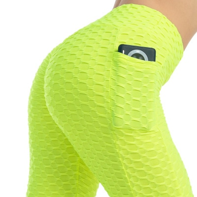 Anti-Cellulite Workout Leggings With Pockets For Women - Neon