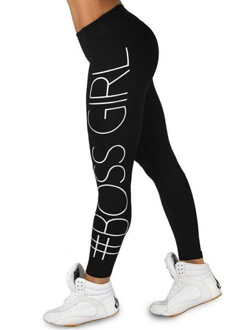 Women Black Boss Girl Print Leggings
