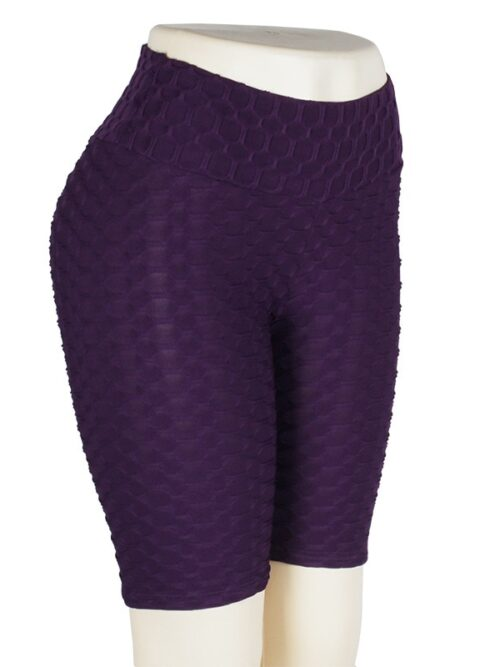 Women High Waist Anti Cellulite Short Leggings - Purple