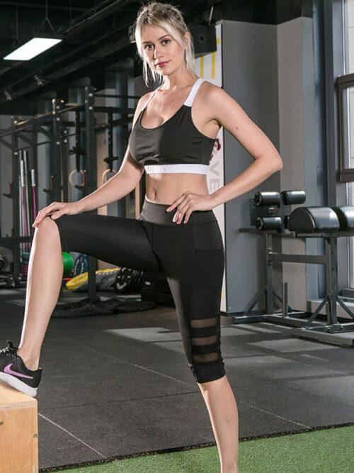 Women Mesh Patchwork Capri Pocket Leggings