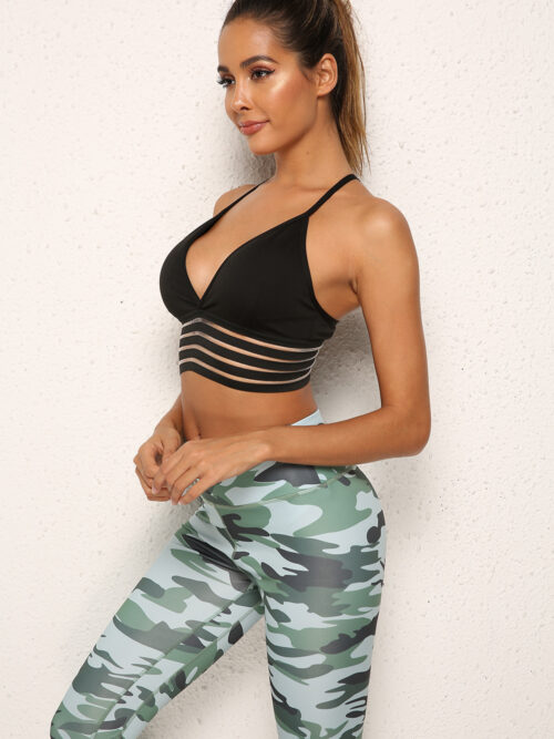Women's V-neck Backless Seamless Push Up Sports Bras