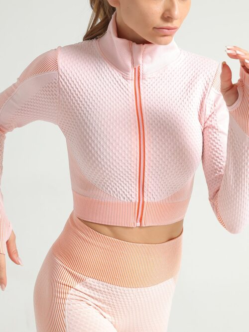 Women Long Sleeve Crop Zip Sports Top