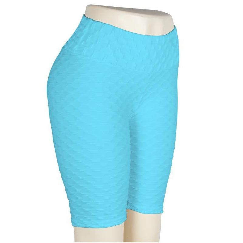 Women High Waist Anti Cellulite Short Leggings - Sky Blue