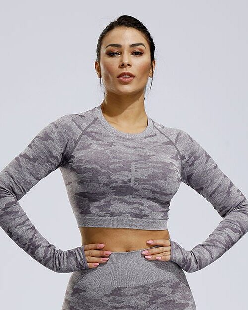 Women Camouflage Long Sleeve Workout Tops