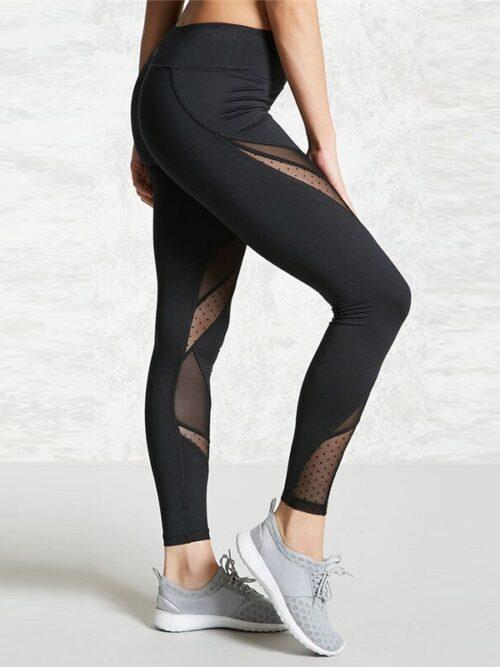 Women Mesh Patchwork Elastic Fitness Leggings