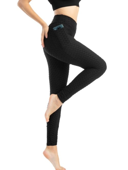 Anti-Cellulite Workout Leggings With Pockets For Women - Black
