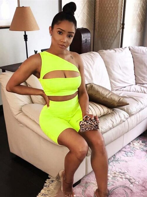 Off Shoulder Two Pieces Tracksuit   Hollow Crop Top & Elastic High Waist Shorts