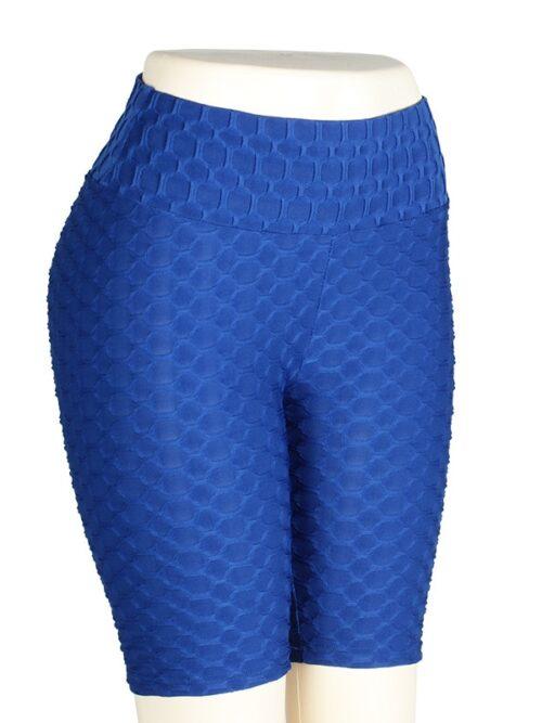 Women High Waist Anti Cellulite Short Leggings - Blue