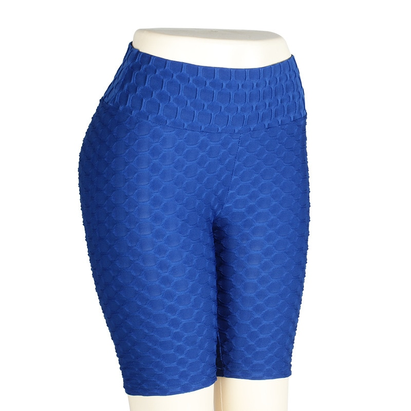 Women High Waist Anti Cellulite Short Leggings - Blue