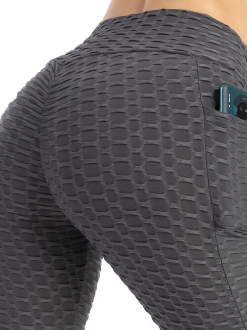 Anti-Cellulite Workout Leggings With Pockets For Women - Dark Grey