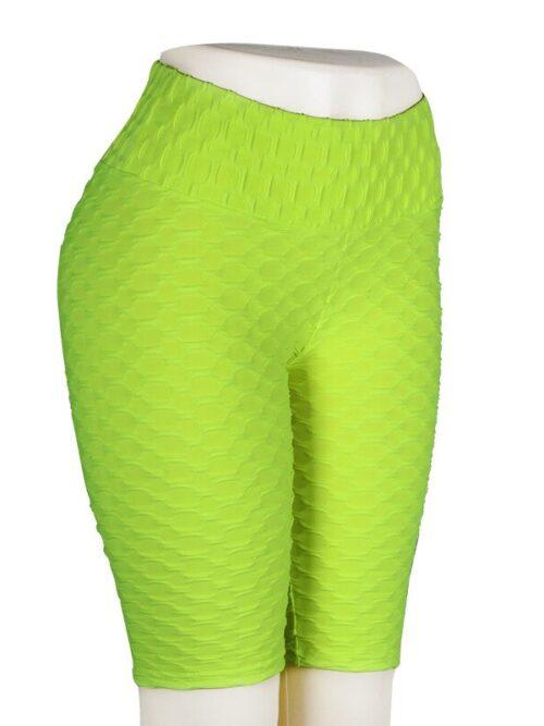 Women High Waist Anti Cellulite Short Leggings - Green