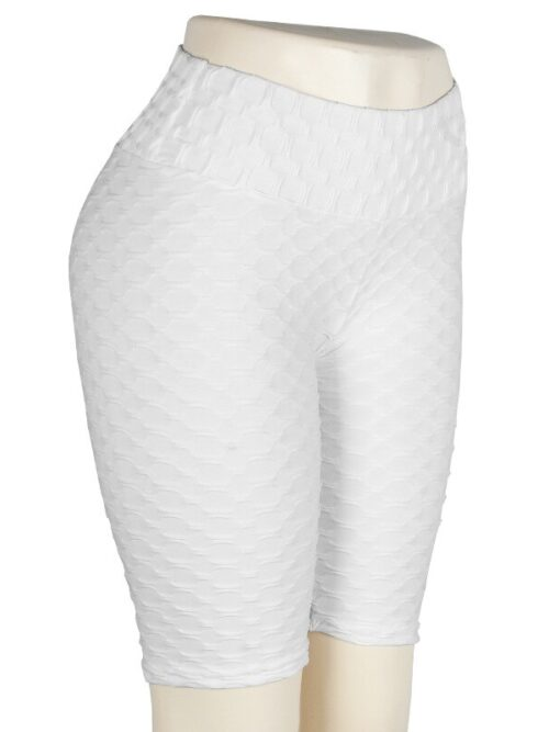 Women High Waist Anti Cellulite Short Leggings - White