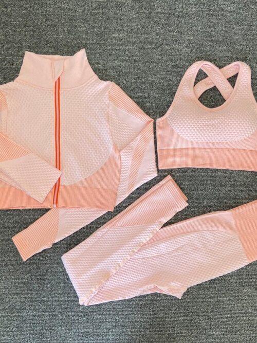 Women's Three Pieces Sports Suit | Leggings & Top & Bra