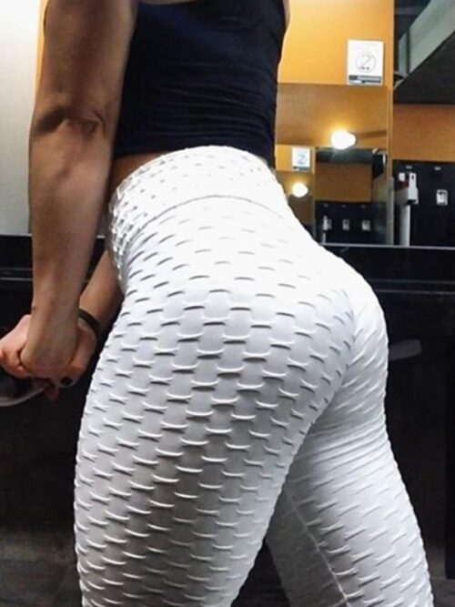 Women Anti Cellulite Booty Scrunch Leggings - White